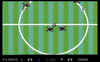 Anstoß in der Outdoor-Variante von Microprose Soccer