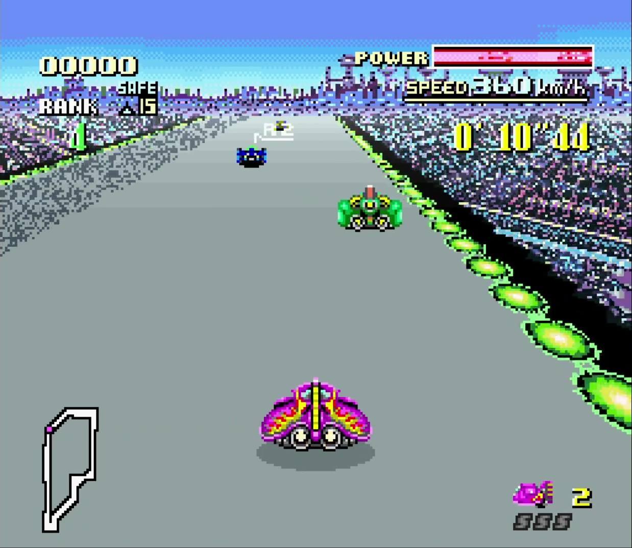 Die Rennstrecke Mute City ist eines der Highlights von  F-Zero.